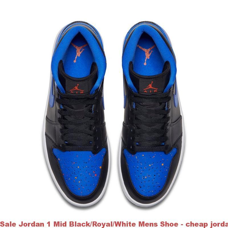 Sale Jordan 1 Mid Black/Royal/White Mens Shoe - cheap jordan shoes near me  - Q0105